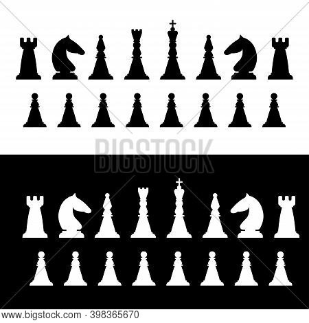 Black And White Chess Pieces. Board Game. Vector Illustration.
