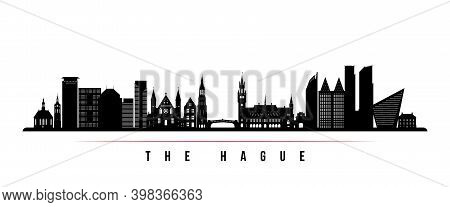 The Hague Skyline Horizontal Banner. Black And White Silhouette Of The Hague City, Netherland. Vecto