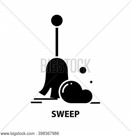 Sweep Symbol Icon, Black Vector Sign With Editable Strokes, Concept Illustration