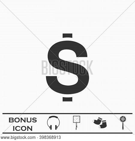 Dollars Usd Money Icon Flat. Black Pictogram On White Background. Vector Illustration Symbol And Bon