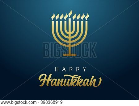 Happy Hanukkah Golden Menorah With Lettering, Candles And Flame Light On Blue Background. Jewish Hol