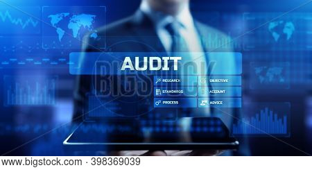 Audit Financial Examination Organisation Account. Business Finance Concept On Screen.
