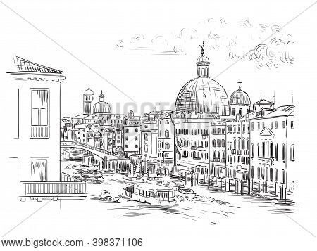 Venice Skyline Hand Drawing Vector Illustration Grand Canal