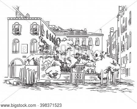 Venice Cityscape Hand Drawing Vector Illustration Canal And House