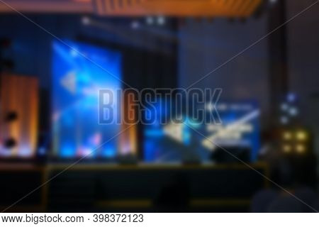 Bokeh Event Exhibition Business Concept; Abstract Blurred Of Defocused Convention Exhibit Trade Show
