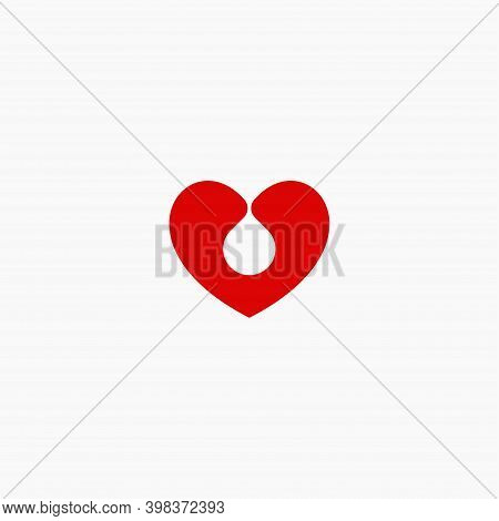 Blood Donation Flat Style Vector Logo Concept. Blood Transfusion Isolated Red Silhouette Icon On Whi
