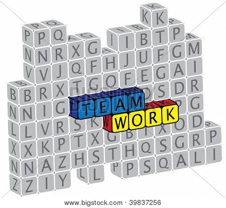 Illustration Of Word Teamwork Using Alphabet(text) Cubes. The Graphic Can Represent Concepts Like Fr