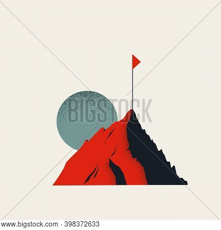 Business Goal Vector Concept With Abstract Mountain And Flag. Symbol Of Challenge, Ambition, Success