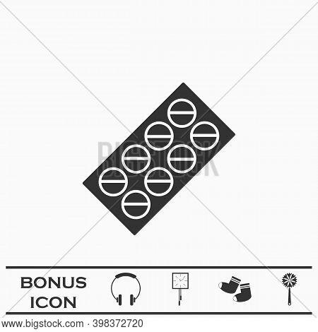 Pills Blister Pack Icon Flat. Black Pictogram On White Background. Vector Illustration Symbol And Bo