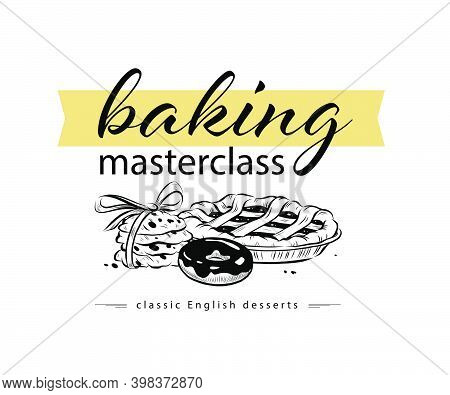 Baking Masterclass Emblem Design With Hand Drawn Pie, Donutand Cookies Illustration. Vector Doodle S