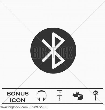Bluetooth Icon Flat. Black Pictogram On White Background. Vector Illustration Symbol And Bonus Butto
