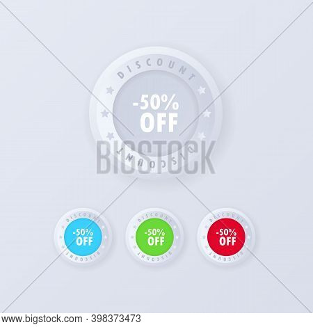 Discount Button Icon In 3d Style. 50 Percent Off Label. Discount Offer Price Label. Sale Tags Badges