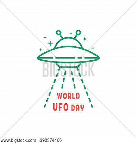 Thin Line World Ufo Day Icon. Concept Of Aliens Visit The Earth For Research And Unidentified Flying