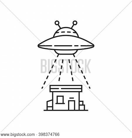 Thin Line Black Ufo With House. Concept Of Alien Invasion Of The Earth And Attack On People. Flat Li