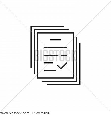 Thin Line Notary Paperwork Badge. Concept Of Tax Free Or Legal Doc Standard And Tick Or Checkmark Do