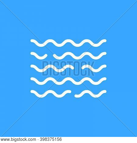 Linear Water White Wave Icon. Flat Minimal Modern Flood Logotype Graphic Art Design Element Isolated