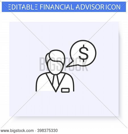 Financial Advisor Line Icon.trades Specialist.guidance And Consulting In Business, Accounting And Fi