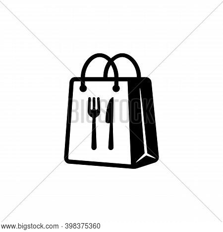 Takeaway Food Symbol. Take Away Paper Food Bag Icon. Daily Meal In Paper Bag. Vector Illustration