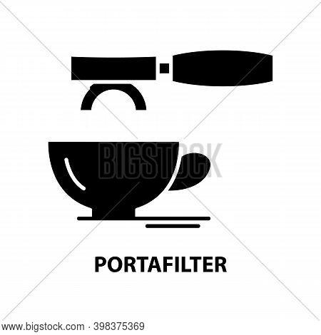 Portafilter Icon, Black Vector Sign With Editable Strokes, Concept Illustration
