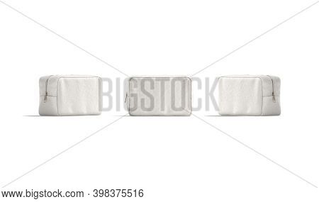 Blank Canvas Cosmetic Bag Mockup, Front And Side View, 3d Rendering. Empty Linen For With Zipper For
