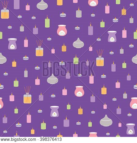 Vector Seamless Pattern With Colorful Scent Diffusers And Candles. Perfect Background/backdrop For S