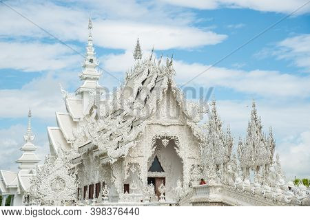 Beautiful Architecture Of White Temple (other Name Is Wat Rong Khun) In Chiang Rai Province Of Thail