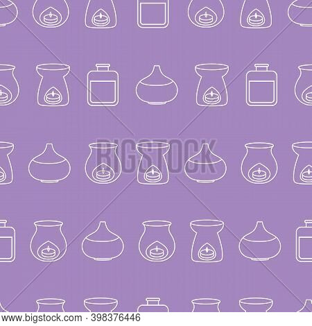 Aromatherapy Seamless Pattern With Vector Line Art Icons. Purple Background With Horizontal Stripes