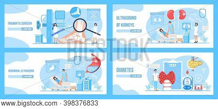 Traumatic Surgeon, Abdominal, Kidney Ultrasound, Diabetes Concept Set Vector. Endoscopy Healthcare T
