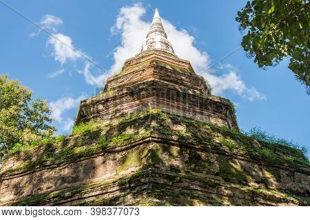 The Ancient Buddhist Stupa In Wat Phra That Cedi Luang (it's Mean Royal Stupa Temple) The Largest St