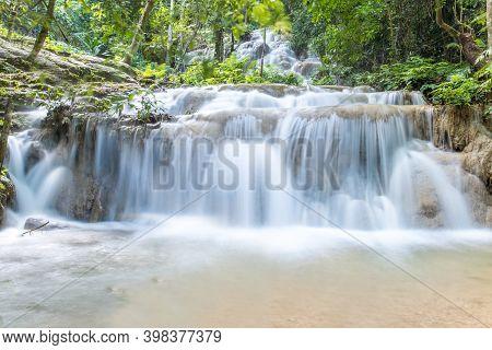 Pu Kang Waterfall In Phan District Of Chiang Rai Province Of Thailand. Beautiful Limestone Waterfall