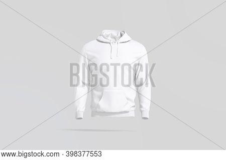 Blank White Sport Hoodie With Hood Mockup, Gray Background, 3d Rendering. Empty Fleece Sweatshirt Mo