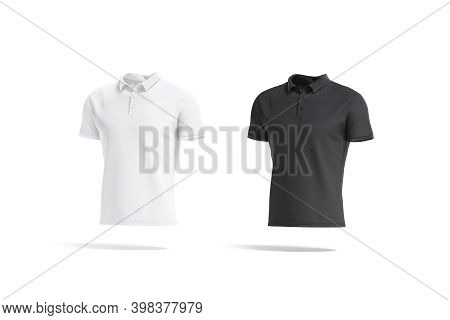 Blank Black And White Polo Shirt Mockup, Side View, 3d Rendering. Empty Casual Jersey Clothing With