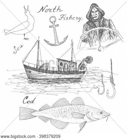 North Cod Fishery. Hand Drawn Black Realistic Outline Vector Illustration.
