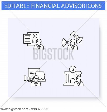 Financial Advisory Line Icons Set. Including Asset Allocation, Real Estate, Accounting And More. Fin