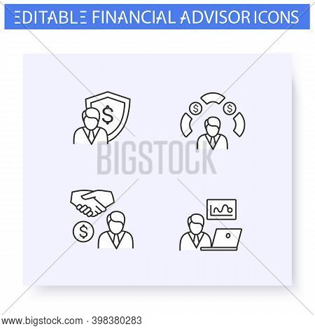 Financial Advisory Line Icon Set.including Private Banker, Insurance Agent, Stockbroker And More. Fi
