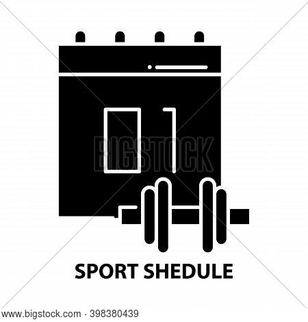 Sport Shedule Icon, Black Vector Sign With Editable Strokes, Concept Illustration