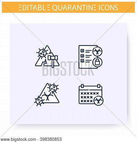 Quarantine Line Icons Set. Lockdown Zone. Quarantine Rules, Period, Violation. Covid19 Virus Spread