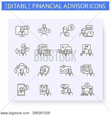 Financial Advisory Line Icon Set. Including Stockbroker, Insurance Agent, Tax Preparer And More. Fin
