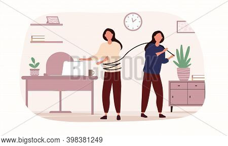 Women Are Having Conflict And Interfere Each Other. Concept Of Internal Demons People Listen To. Suf
