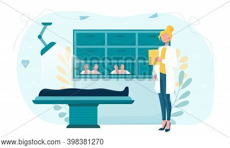 Interior Of Morgue. Dead Bodies Laying In The Mortuary. Female Morgue Worker Standing With Notepad A