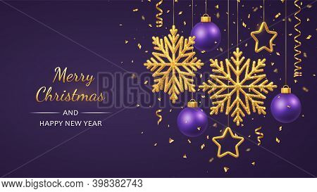 Christmas Purple Background With Hanging Shining Golden Snowflakes, 3d Metallic Stars And Balls. Mer