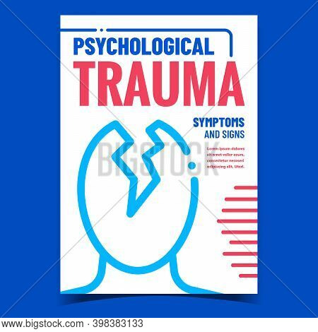 Psychological Trauma Promotional Banner Vector. Psychological Trauma Symptoms, Signs And Treatment A