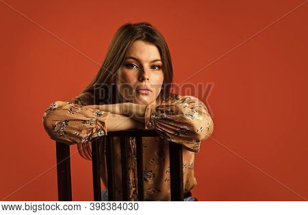 Portrait Of Woman With Beauty Face. Female Fashion Style. Girl Has Long Hair. Thinking Concept. Lost