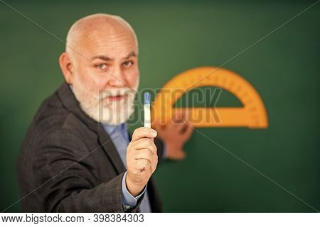 Man Bearded Tutor Chalkboard Background. Mature Lecturer Share Knowledge. Stem Knowledge. Knowledge