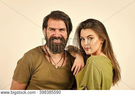 Romantic Love Relationship. Couple In Love. Beauty Of Hair. Brutal Casual Fashion. Hipster Male With
