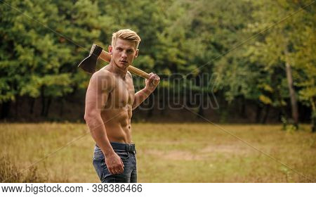 Sporty Handsome. Bodybuilding Concept. Lumberjack Woodman Sexy Naked Athletic Torso. Masculine Conce