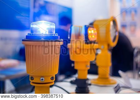 Close Up Of Alarm Lamp Signal Warning Flashing Lights For Industrial Machinery At Emergency, Support
