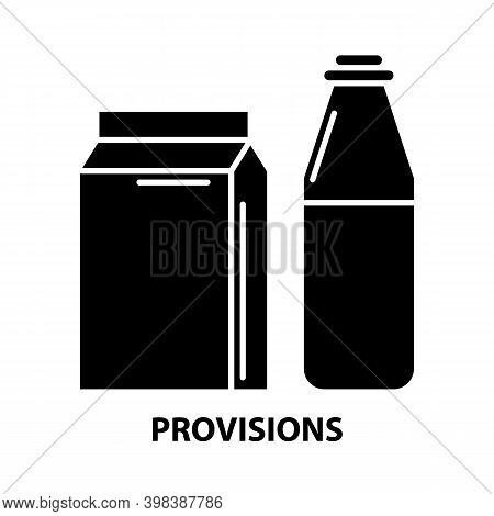 Provisions Icon, Black Vector Sign With Editable Strokes, Concept Illustration