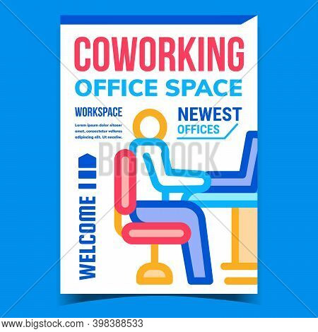 Coworking Office Space Promotional Poster Vector. Coworking Workspace, Worker Working With Computer