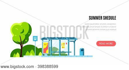 Landscape With Bus Stop, Summer Shedule, Flas Style Vector